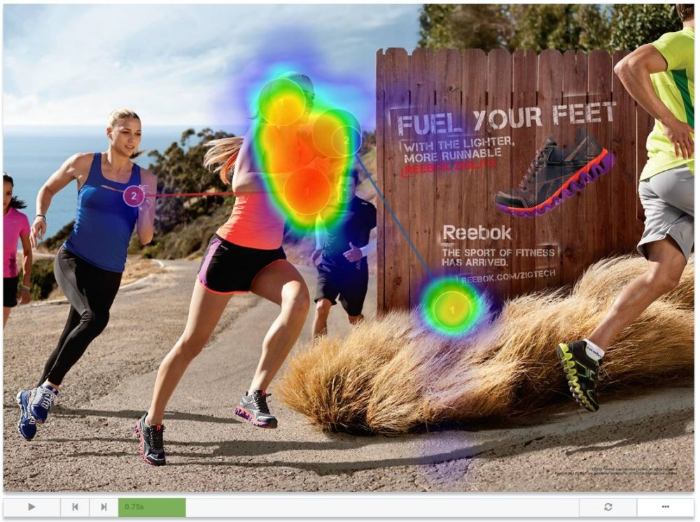 view of heat map and gaze plot on reebok ad with playback