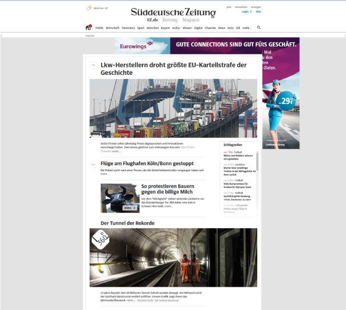 news portal with advertisement