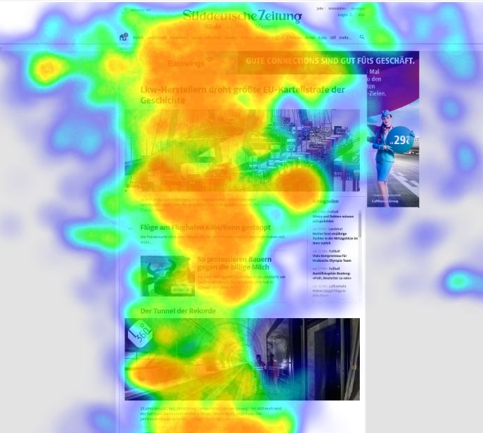 heat map eye tracking evaluation on news portal with advertisement