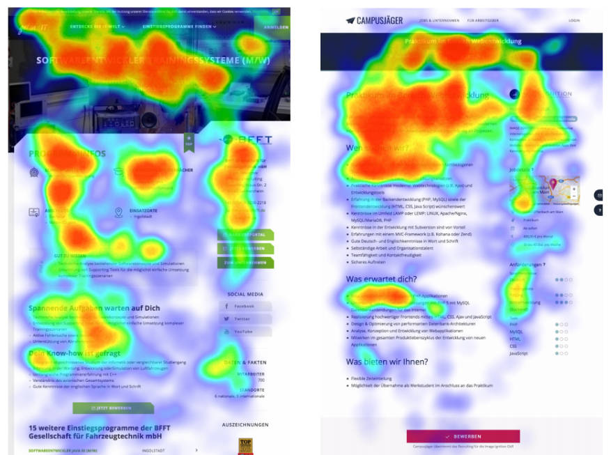 heat map comparison of two pages with f-pattern