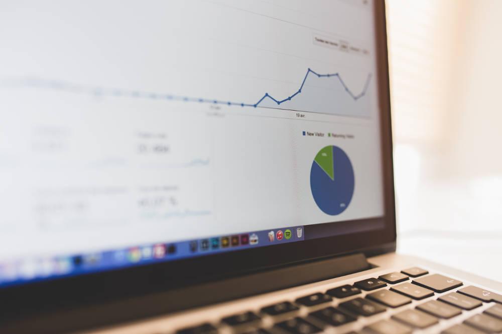 laptop screen with Google Analytics