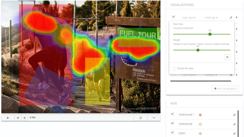 example view with areas of interest and heat map in Eyezag interface